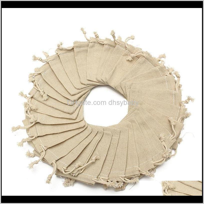 50pcs small bag natural linen pouch drawstring burlap jute sack with drawstring packaging bag jewelry pouches