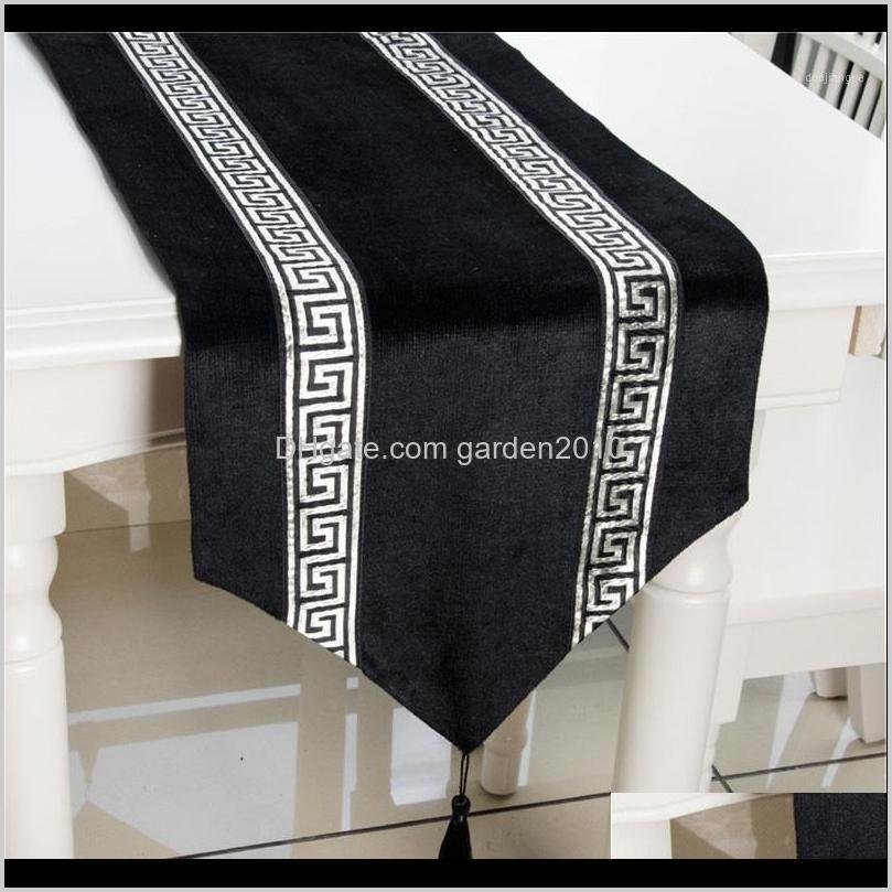 33 x 180cm luxury table runner with tassels for dining table wedding party christmas cake floral soft tablecloth decoration1