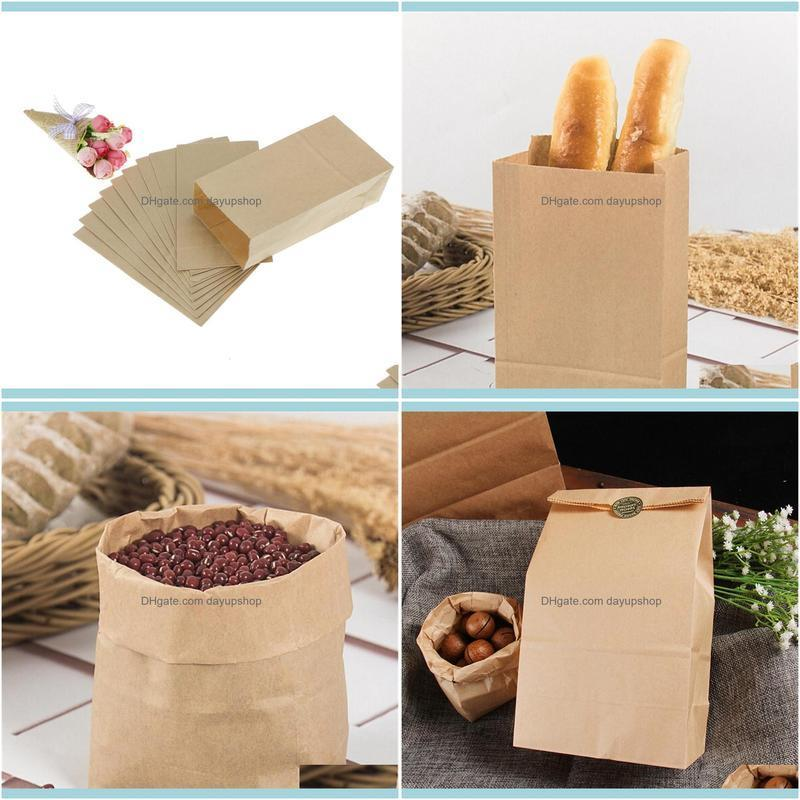 10pcs Brown Kraft Paper bag Gift Bags packing Biscuits candy raft bread Cookie Bread Nuts Snack Baking Package