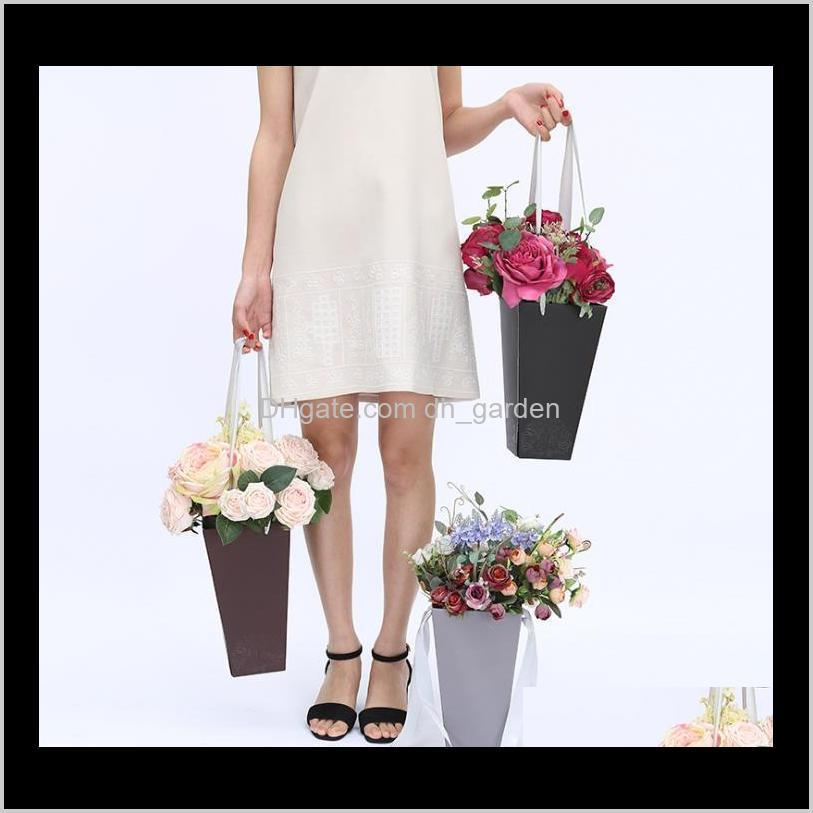 new gift packaging vases, portable bouquet boxes, flower shop popcorn bucket flower box are easy to use sn2401