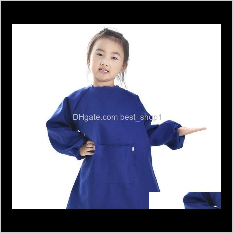 children kids long sleeve apron drawing painting waterproof smock for practice brushwork painting apron solid color