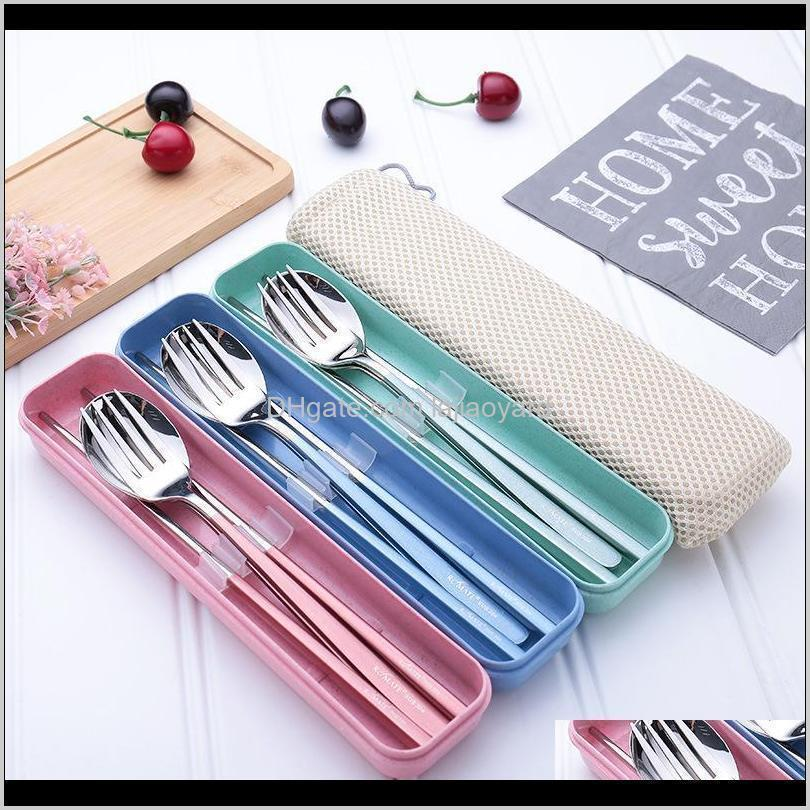 stainless steel dinner set chopsticks fork spoon box portable travel camping cutlery tableware set dinnerware case kit wmtgoq