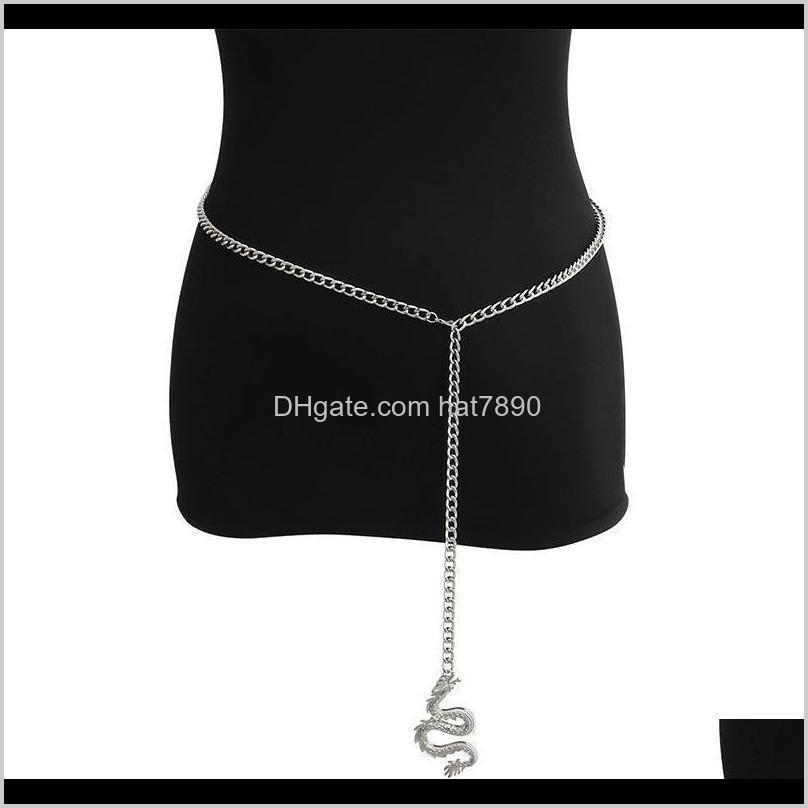 Waist Chain Gold Personality Silver Alloy Chain Belt Female Punk Alloy Geometry Ladies Hip Hop Metal Waist