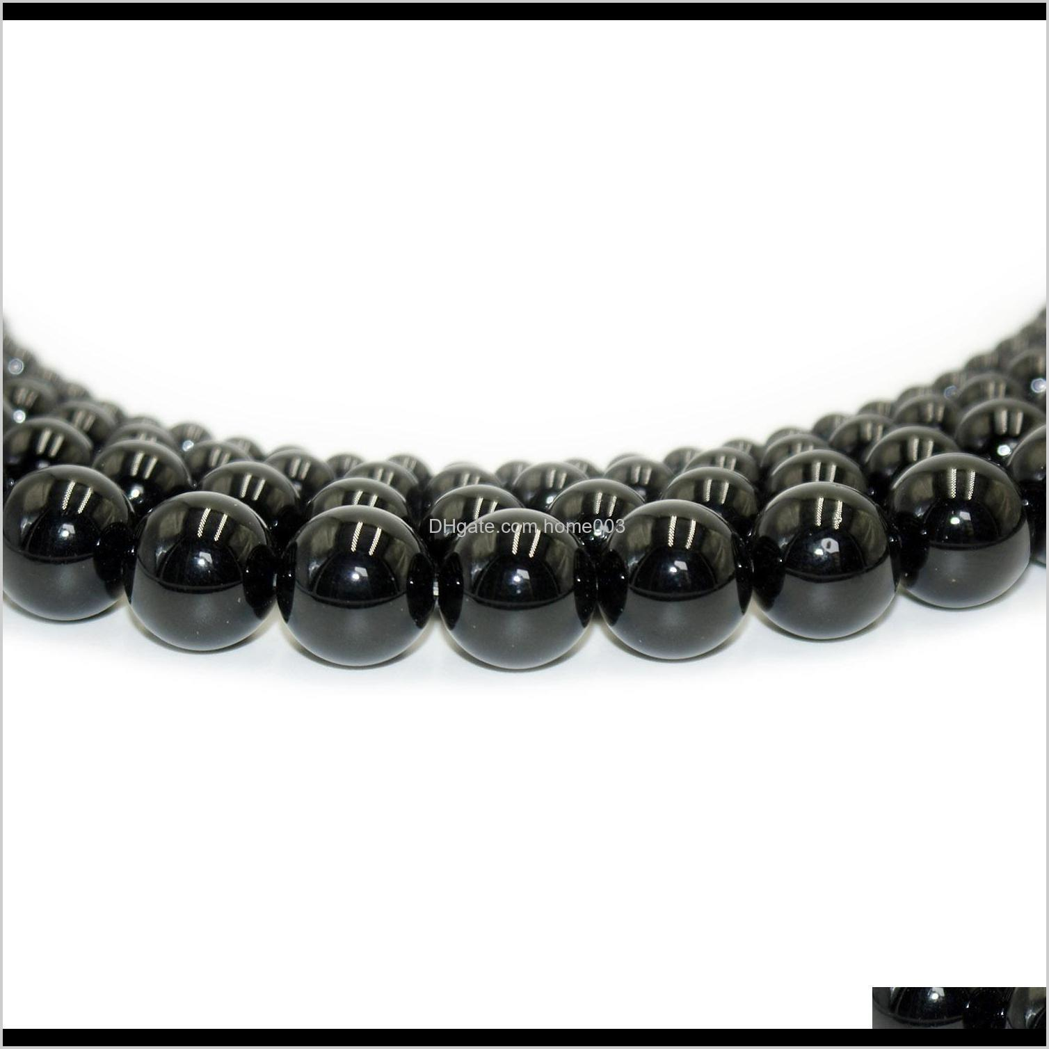 100% natural stone black obsidian beads round gemstone loose beads for diy bracelet jewelry making 1 strand 15 inches 4-10 mm