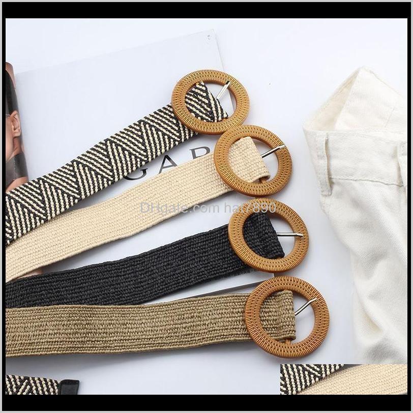 Belt Decor Skirt Dress Waistband Hand-woven for Women Elastic Round Square Buckle Korean Style Knitted Waist Belts