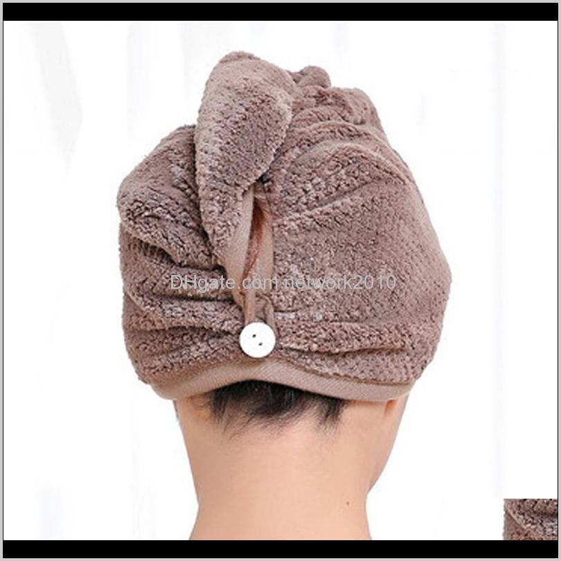 microfiber hair fast drying towel bath wrap hat quick-drying cap turban with button design, women bath super absorbent dryer hair