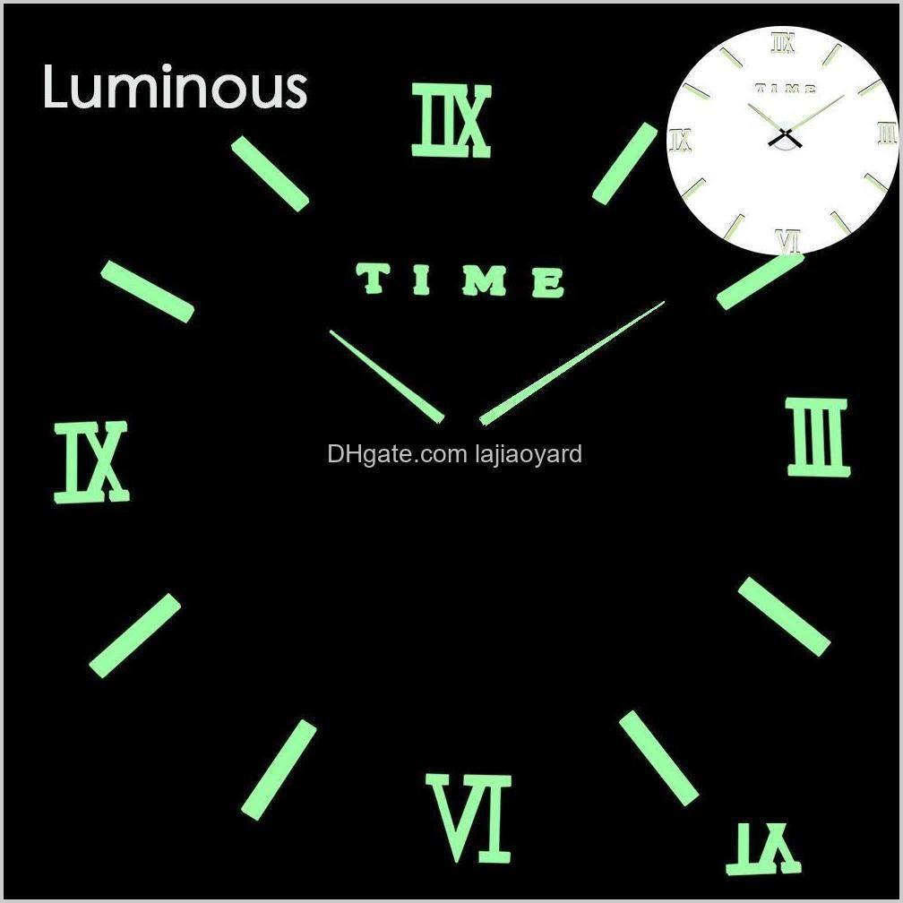 large wall clock watch mirror sticker diy 3d acrylic brief modern design luminous luminova times quartz fashion horlorge wmtmjr