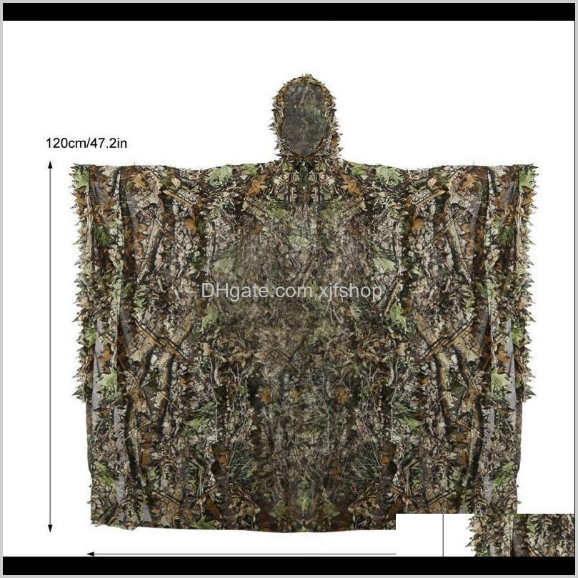 outdoor 3d leaves camouflage ghillie poncho camo cape cloak stealth ghillie suit cs woodland hunting poncho cloak