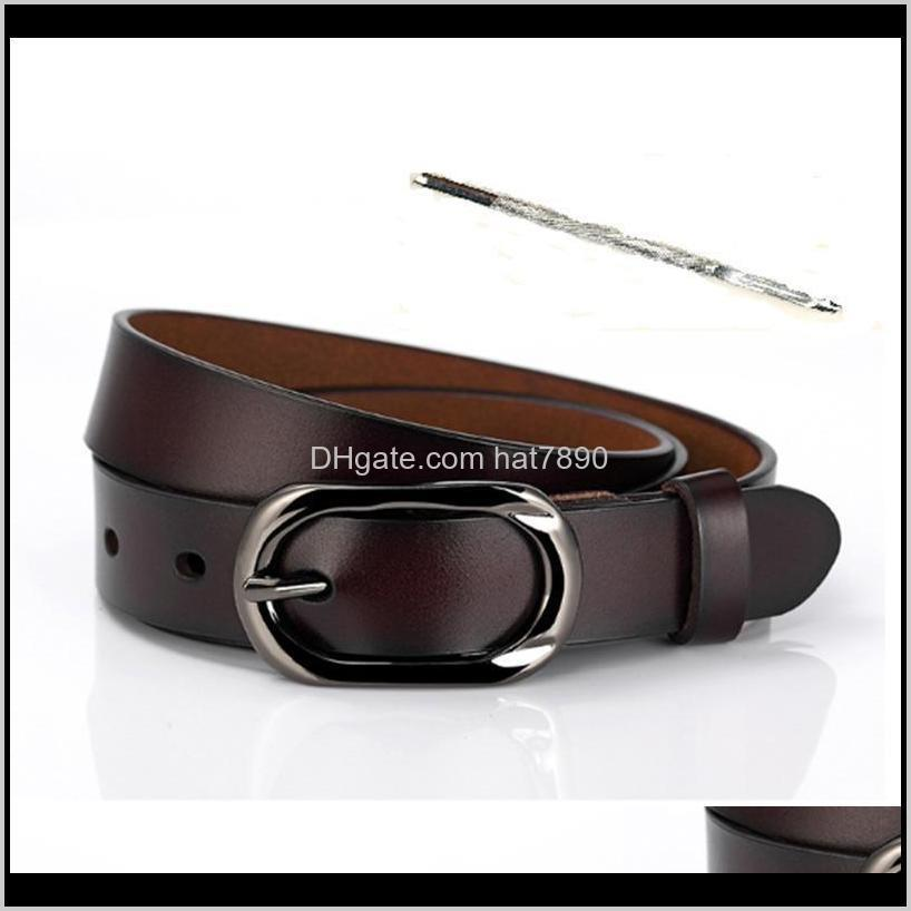 Retro Female Jeans Belt with Pin Buckle,with Punch Pin Brown