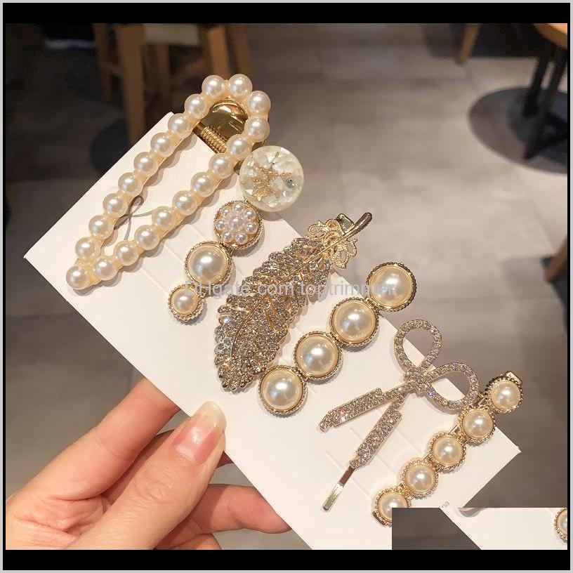 girls jewelry fashion hair pins simulated pearl barrettes beaded geometric women hair clip hairgrips hair accessories