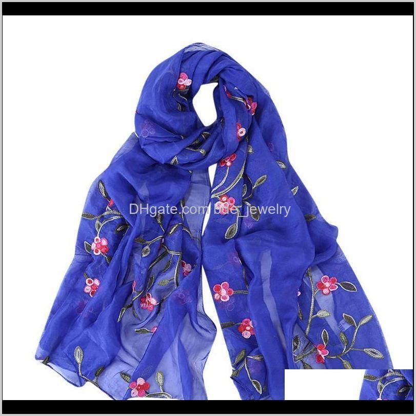 women embroidery chiffon scarf hijab scarf shawl muslim hijabs floral print solid color silk scarves 2021 bufanda mujer