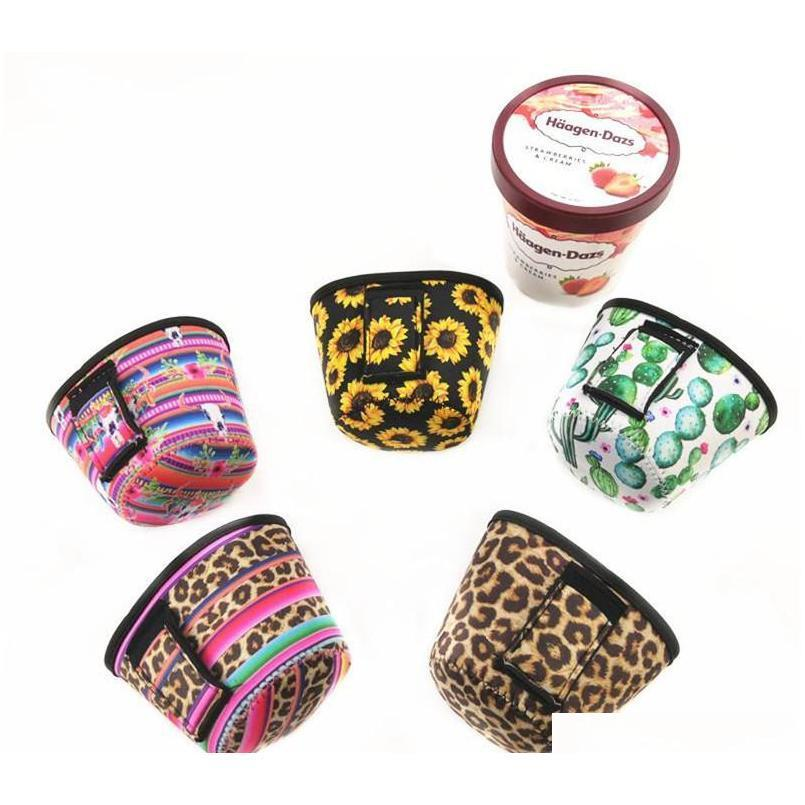 2019 new fashion ice cream can cooler cover ,koozie with leopard and cactus neoprene can holder cover