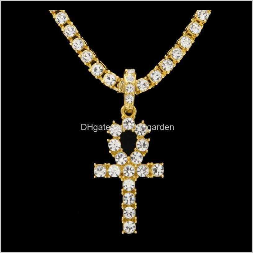 hip hop party jewelry gift anha cross pendant bling cz stones necklace jewelry for men and women