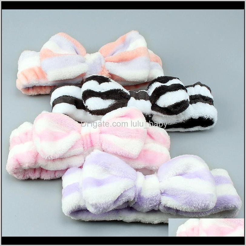 girls stripe coral fleece wash face bow hairbands womens make up headband headwear fashion female turban hair accessories