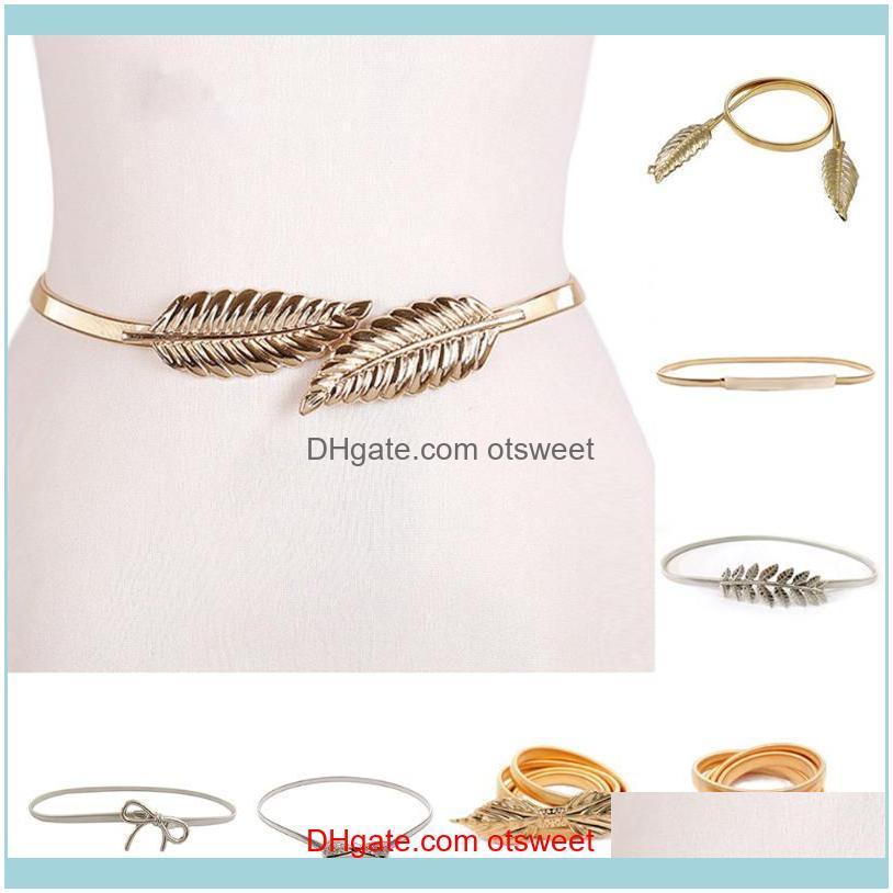 Leaf Shape Wedding Designer Metal Female Belt Elastic Belts Women Girl Stretch Skinny Waist Flower Cinturones Para Mujer
