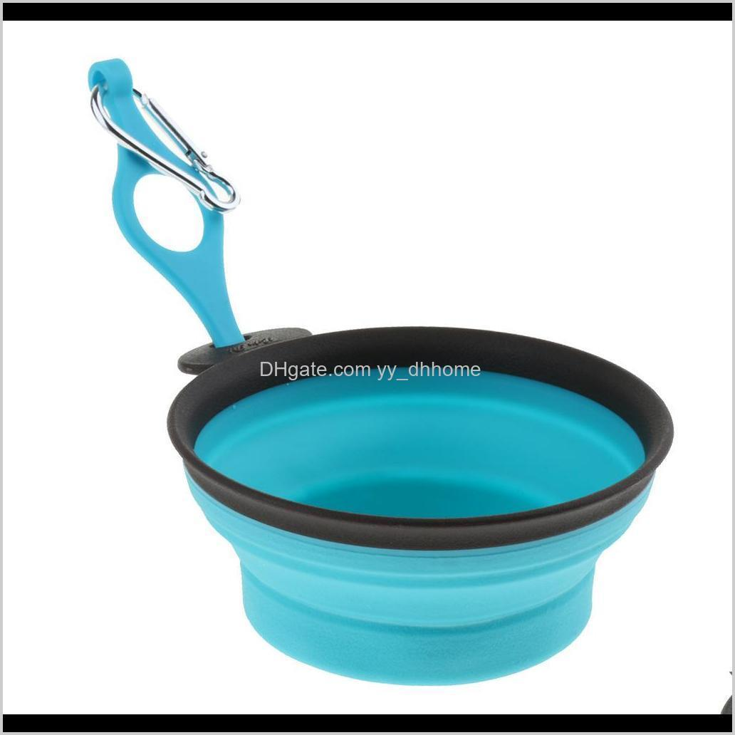 folding pet bowl cat dog bird carrier dish for water & food no leakage portable