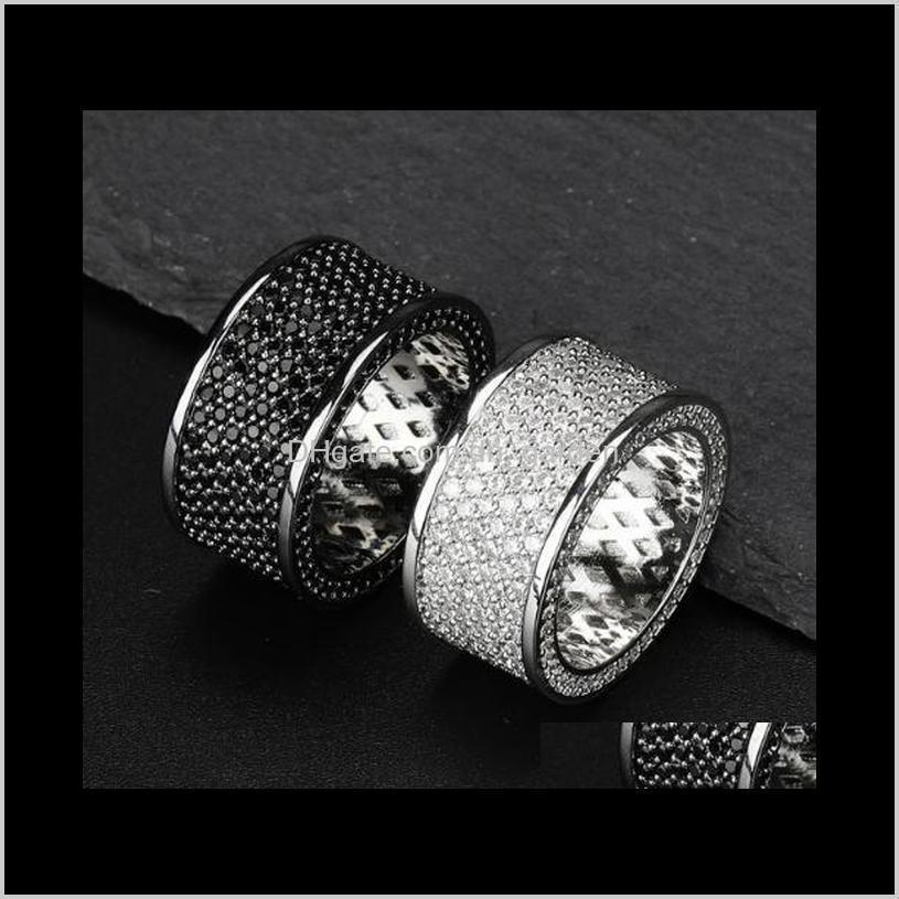 new fashion personalized real 18k white gold bling black diamond mens finger ring band cubic zirconia hiphop rapper rings jewelry for