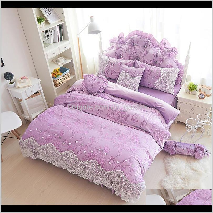 thick fleece winter duvet cover set lace girls bedding full queen king size soft warm purple beige bed linen quilt sets