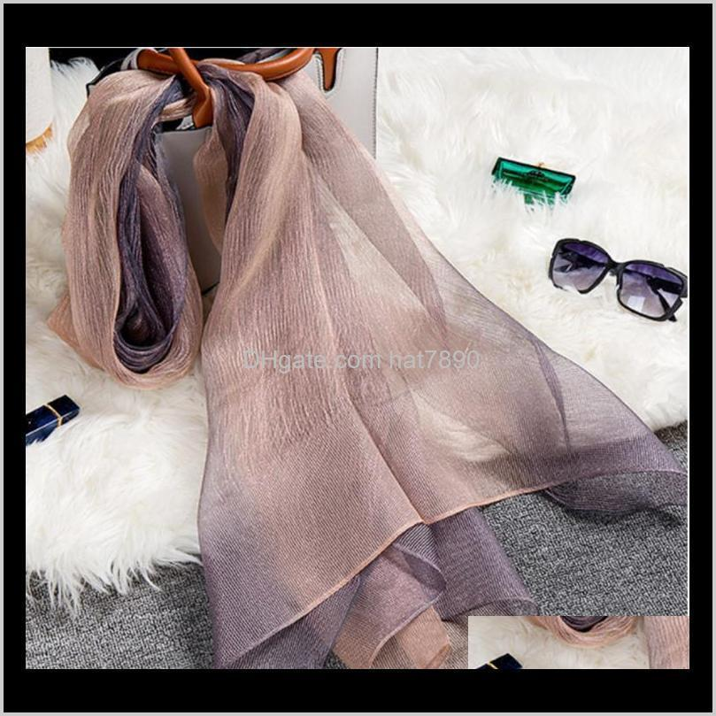 New Silk Wool Scarf Shawl Ladies High-Grade Scarves Lady Fashion Long Color Gradient Wrap Women`S Shawl