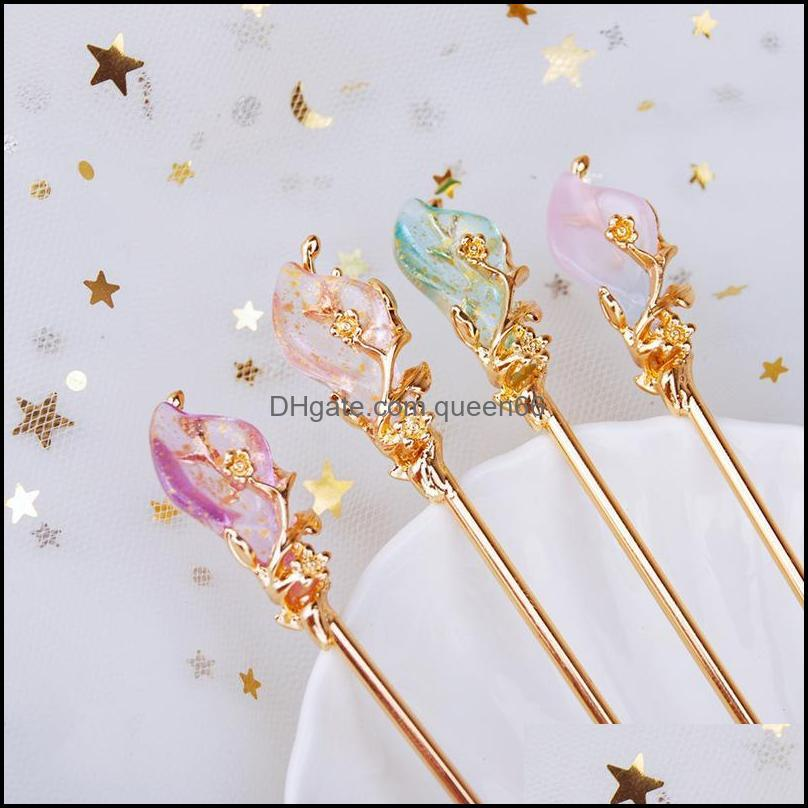 Hair Clips & Barrettes Classical Chinese Style Hairpin Elegant Leaf Winding Crystal Clasp Gold Color Metal Jewelry Female Fashion