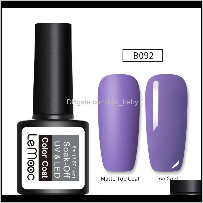 lemooc 8ml matte top coat color uv gel nail polish gray series semi permanent soak off uv gel varnish diy nail art paint