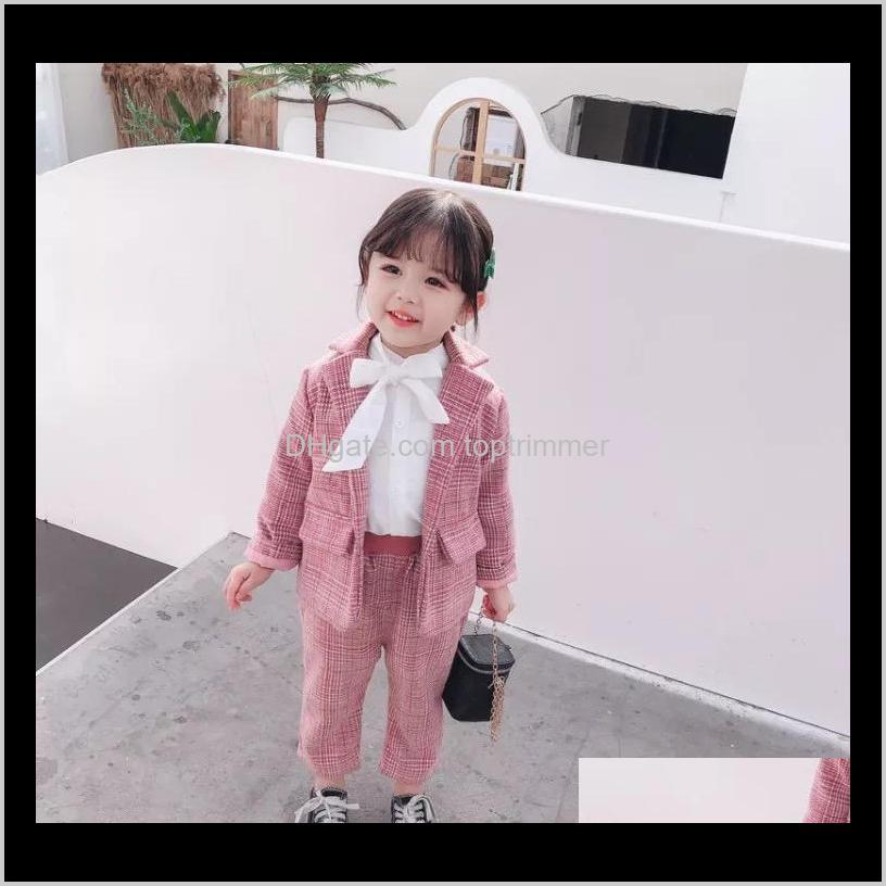 kids girls plaid suits cotton front buttons fashions designer children clothing suits stylish child clothes sets