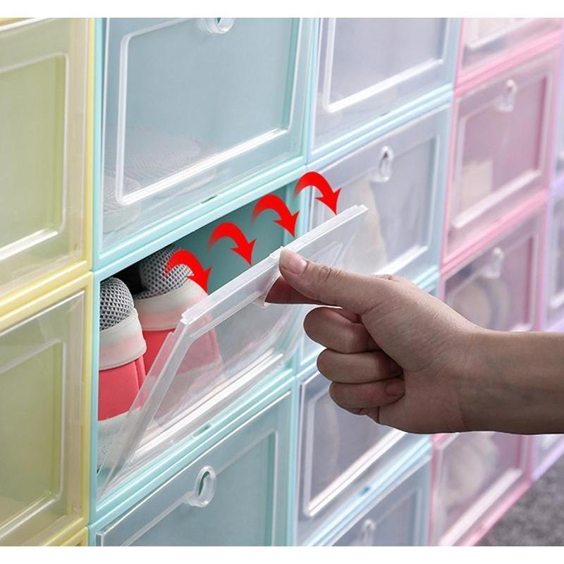 thicken clear plastic shoe box dustproof shoe storage box flip transparent shoe boxes candy color stackable shoes organizer box bh3641