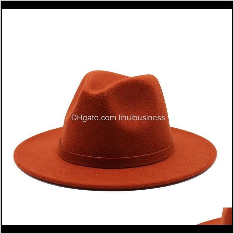 classic panama jazz caps men women wool felt fedora hat british style wide brim simple trilby party formal cap white dress hats