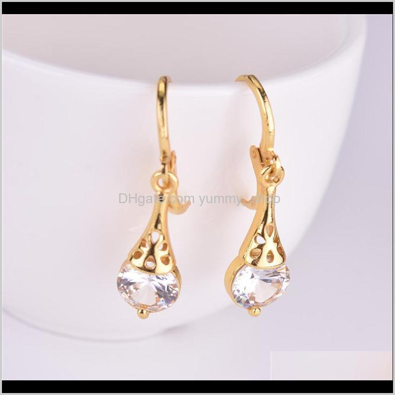 new arrival gold plated cz crystal dangle earrings for lady women colorful crystal stone clip on earring gift jewelry pink red green