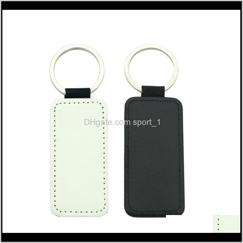 sublimation key chain blank pu leather keychain hot transfer printing key ring single-sided printed keychain diy strip gifts owd3301