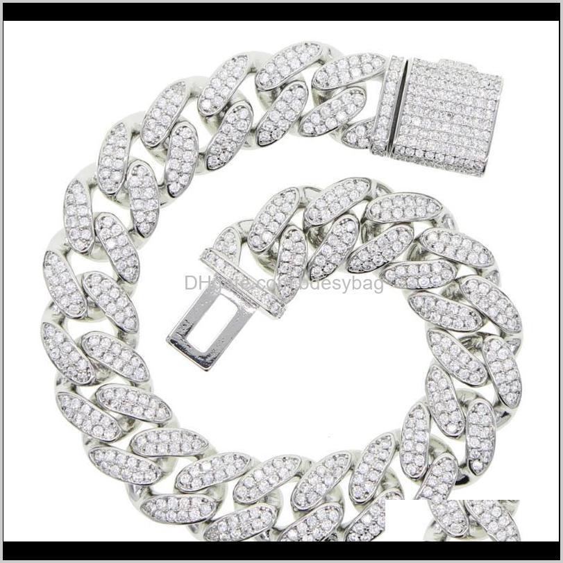 fashion gorgeous gold silver color heavy iced out bling cz cuban chain men 16cm 18cm hip hop jewlery bracelets 2020 new