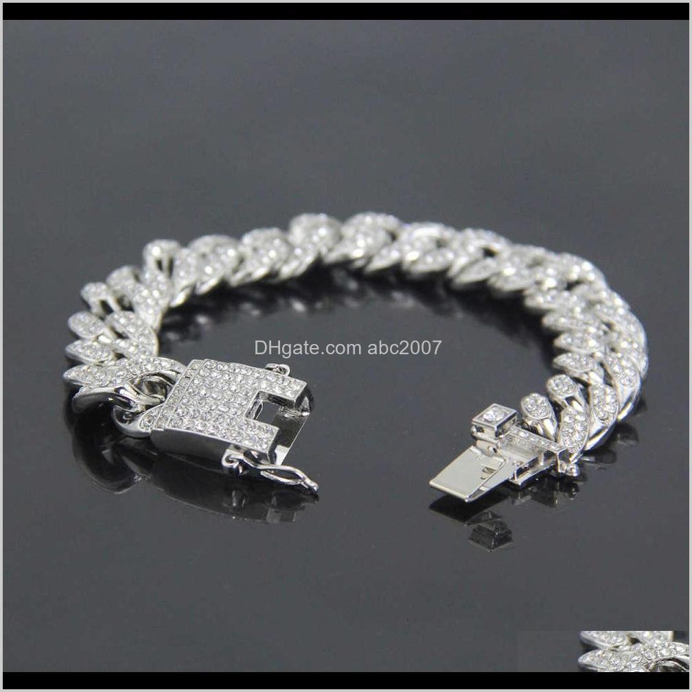 hip hop jewelry cuban hiphop men`s fashion diamond inlaid bracelet width 12mm
