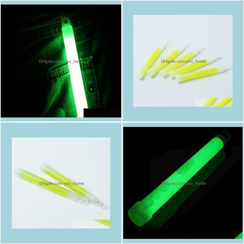 Party Decoration 5pcs Plastic 15mm Thick Green Light Up Glow Sticks With Hook Camping Lights Concert Wedding Festival Favors Decor