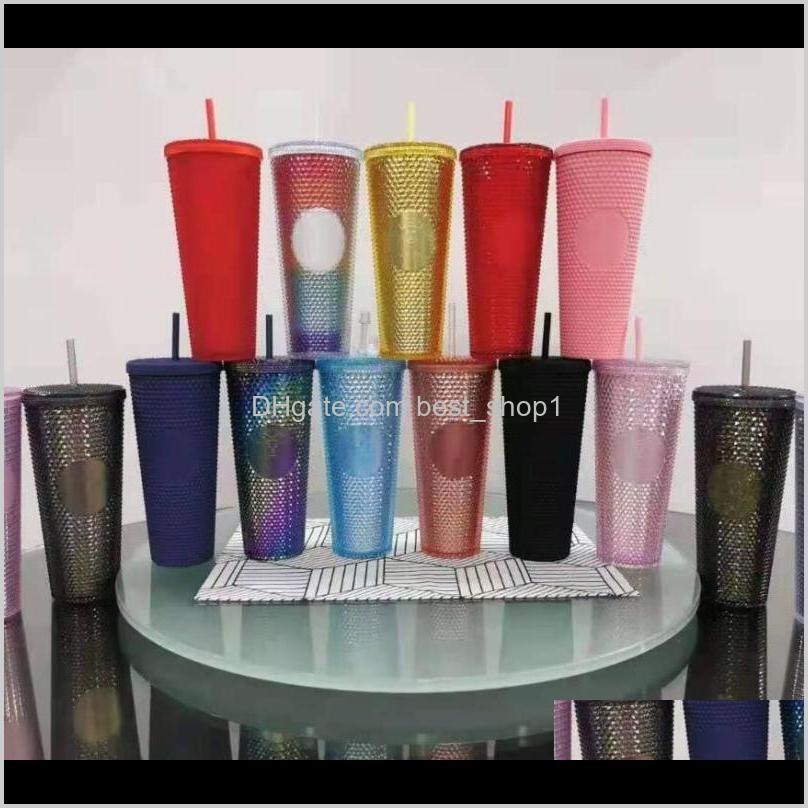 24 oz personalized starbucks iridescent bling rainbow unicorn studded cold cup tumbler coffee mug with straw fy4488