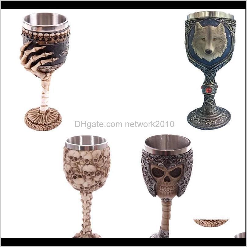 3d gothic skull goblet cup stainless steel resin fly dragon skeleton design for bar party home wine goblet cups beer mug halloween