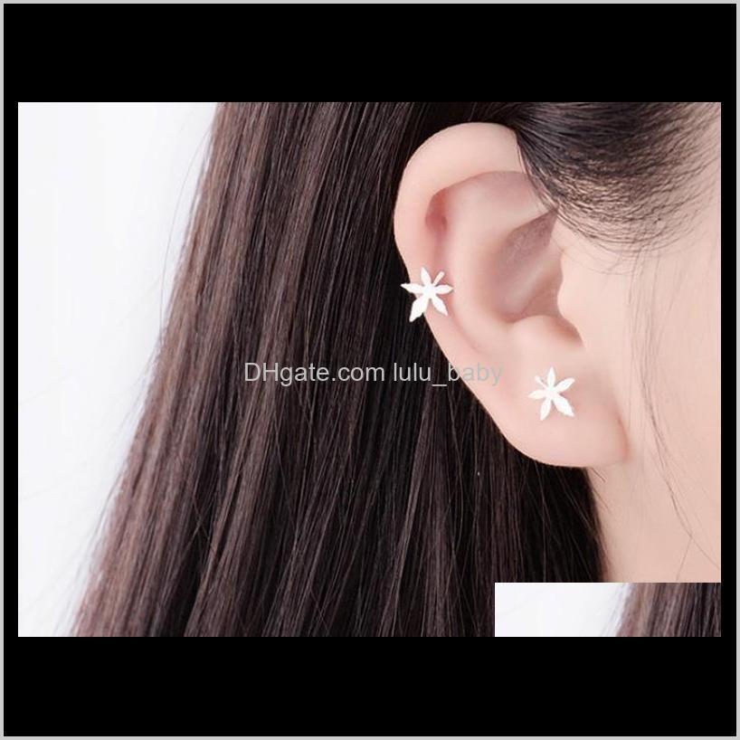 maple leaf stud earrings s925 silver sterling stud earrings gifts for girls /ladies maple leave ear studs
