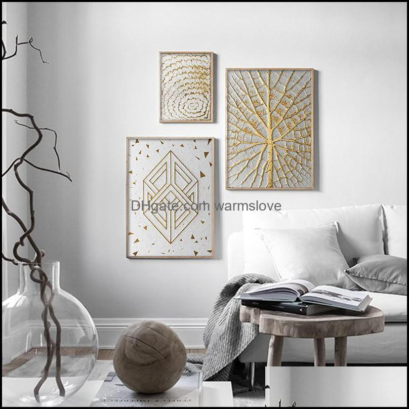 Abstract Geometric Poster Nordic Luxury Canvas Painting Modern Wall Art Print Plant Leaf Pictures For Living Room Bedroom Decor