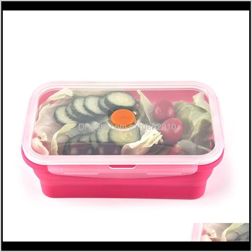 4pcs lot silicone folding lunch box portable bowl 350ml 540ml 800ml 1200ml food container lunchbox outdoor food fresh box