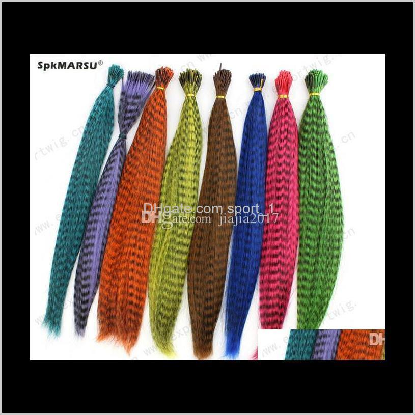 colorful 10000pcs/lot length 16inch 40cm 14 colors synthetic available grizzly loop feather hair extensions hairpiece