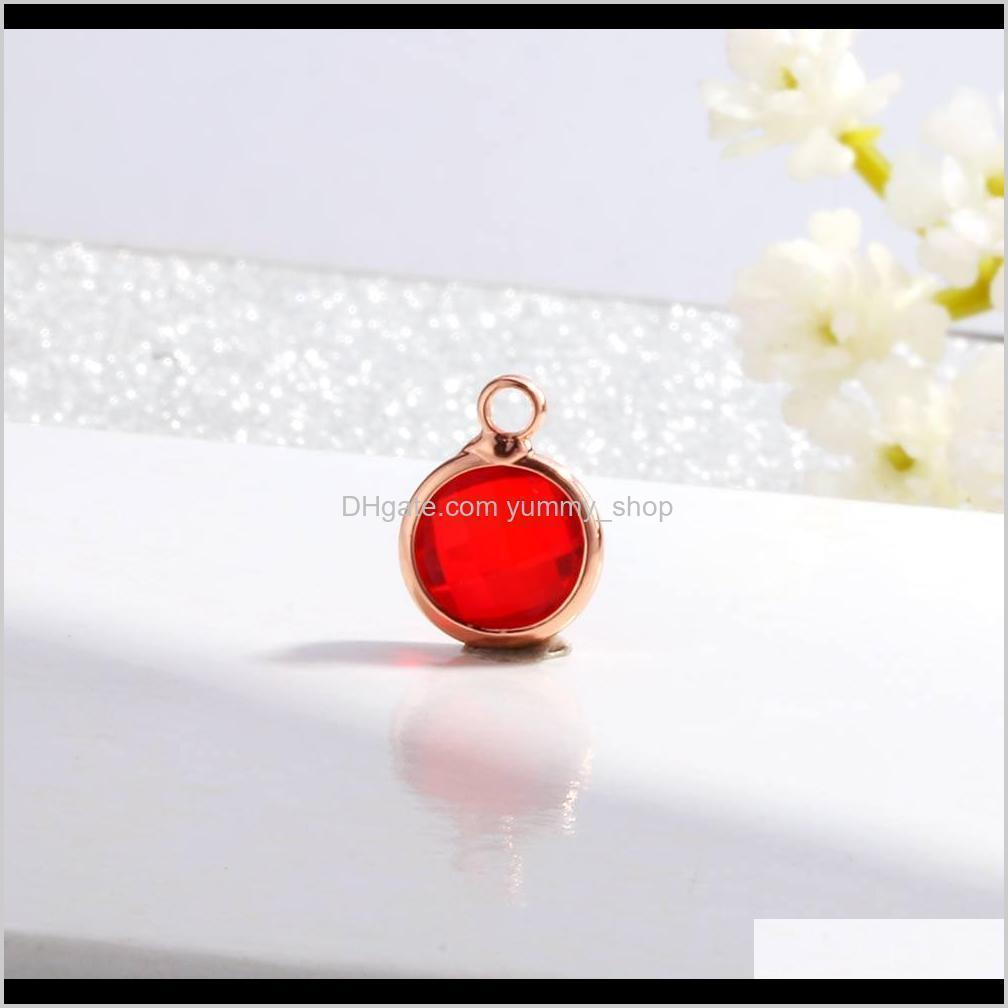 2019 new rose gold birthstone charms rhinestones 8.7mm charm glass pendant diy for jewelry making necklace bracelet