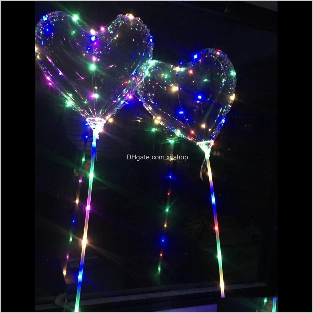 valentine`s day gifts led love heart bobo ball balloons night lights clear balloon flash air balloon for wedding party decoration