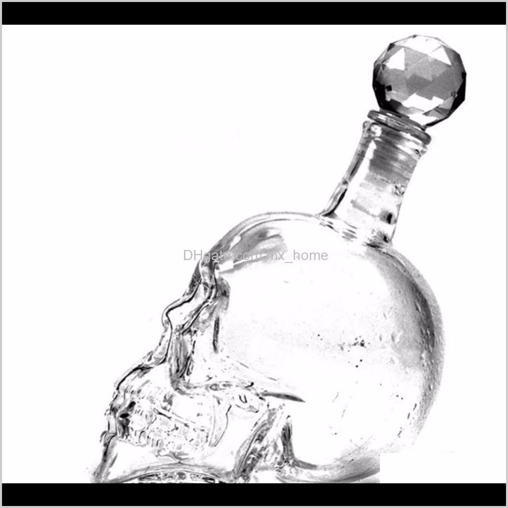 creative crystal skull head bottle whiskey vodka wine decanter bottle whisky glass beer glass spirits cup water jllnqv