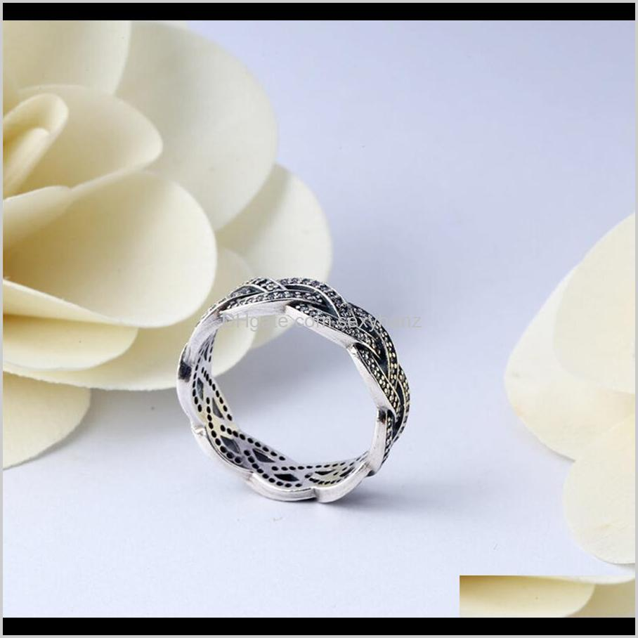 authentic ale 925 sterling silver sparkling braid band ring new fashion luxury designer jewelry women rings with pandora original gift