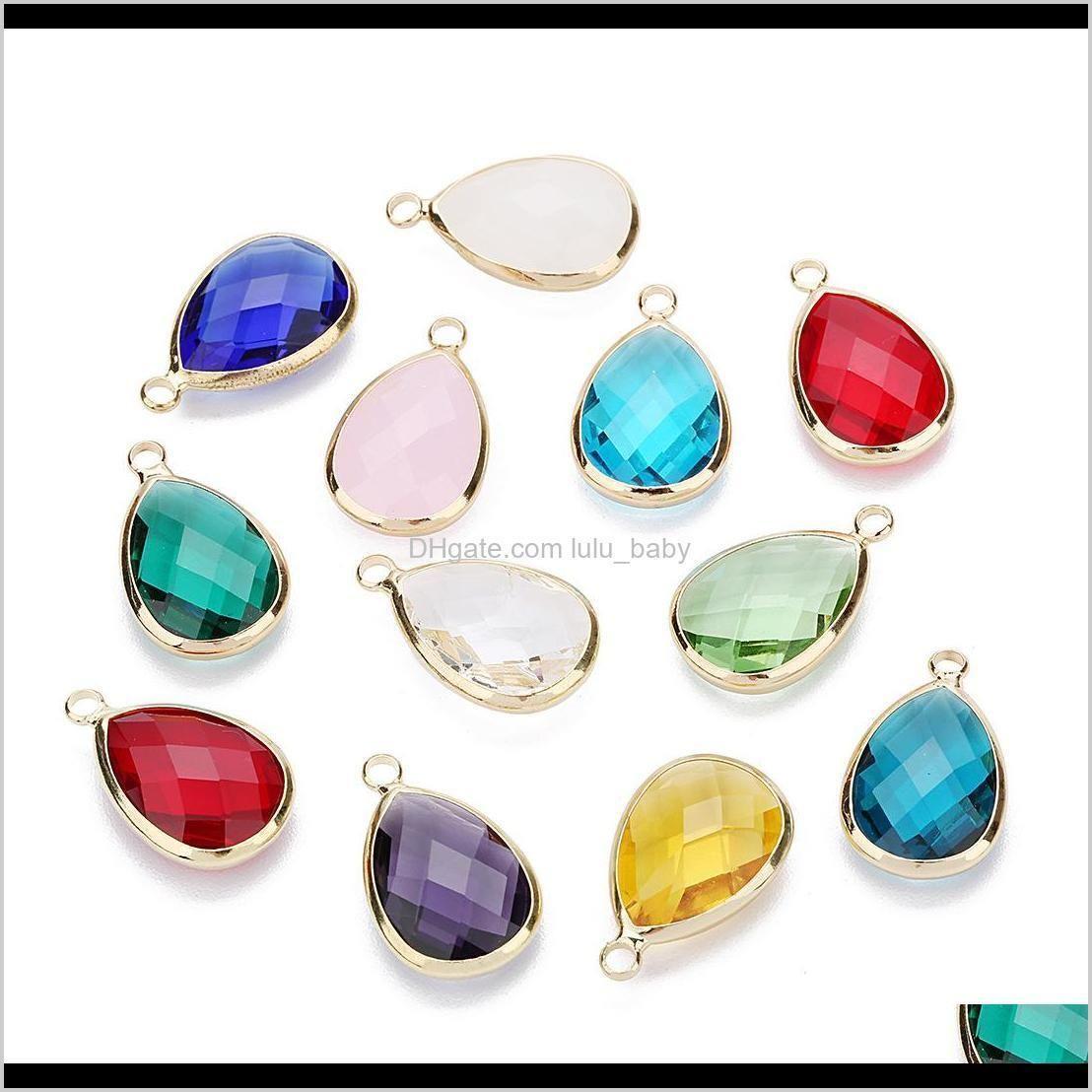 women glass crystal bead teardrop copper loose beads connector for charm choker bracelet earrings necklace diy jewelry making findings