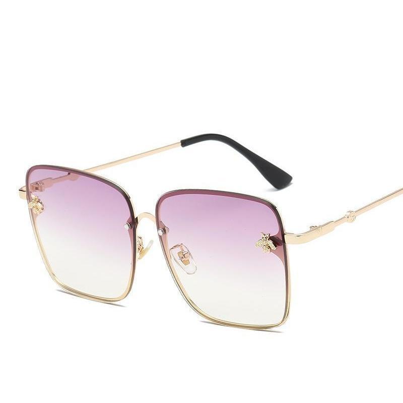 hope square bee sunglasses women men retro brand designer metal frame oversized sun glasses female grandient shades oculos