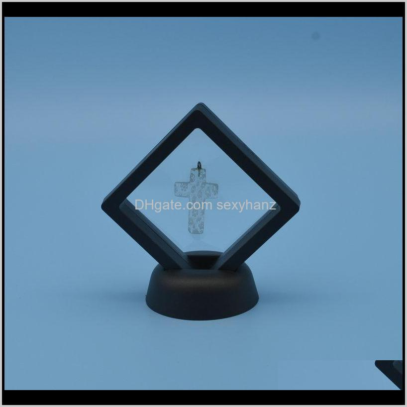 black white jewelry packaging display suspended floating display case jewellery coins gems artefacts stand holder box