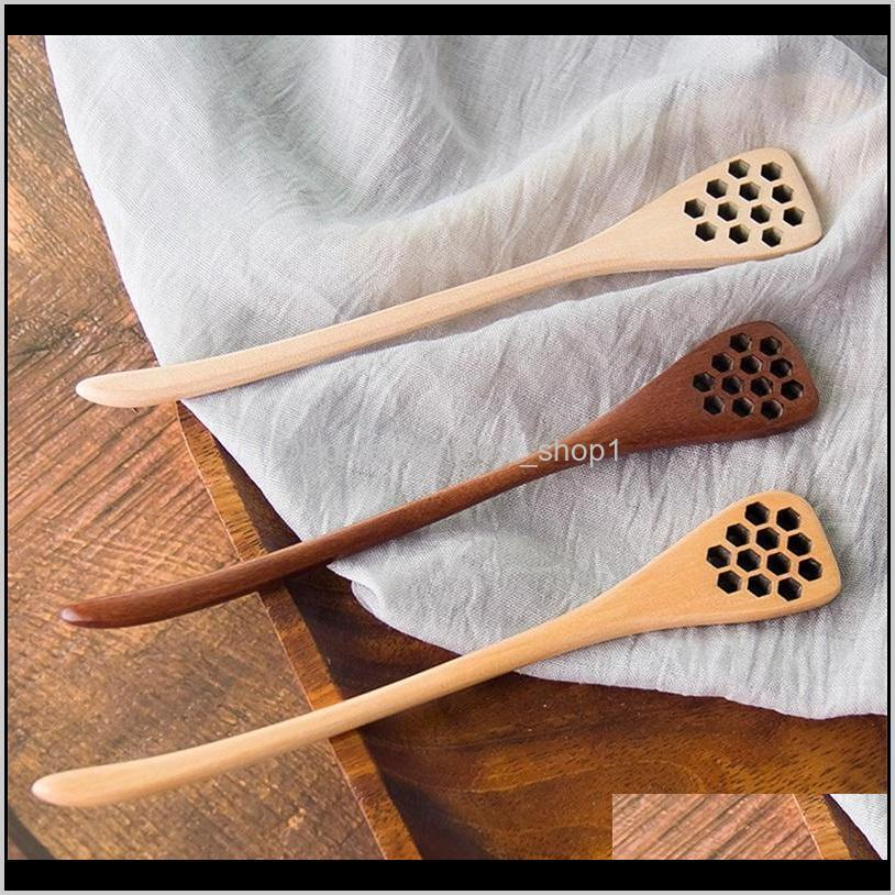 wooden spoons hollowing out carving wood bee honey stick coffee muddler originality dipper dinnerware tools kitchen accessories 2 06dc