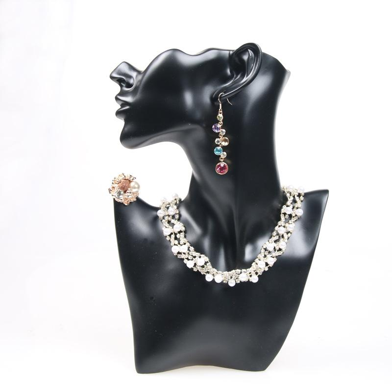 Unique Necklace Earring Display Bust Resin Head Model Jewelry Stand Neck Form For Jewellery Window Shelf Exhibition Counter Top Statue