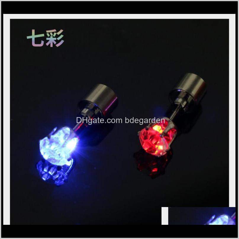 hot cheap cool light up led light ear studs shinning earrings for bar unisex fashion jewelry gift for women ladies girl gifts ps1555