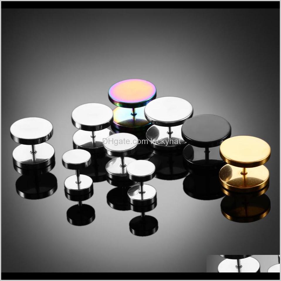 2pcs gold black steel cheater faux fake ear plugs flesh tunnel gauges tapers stretcher earrings piercing jewelry 6-14mm